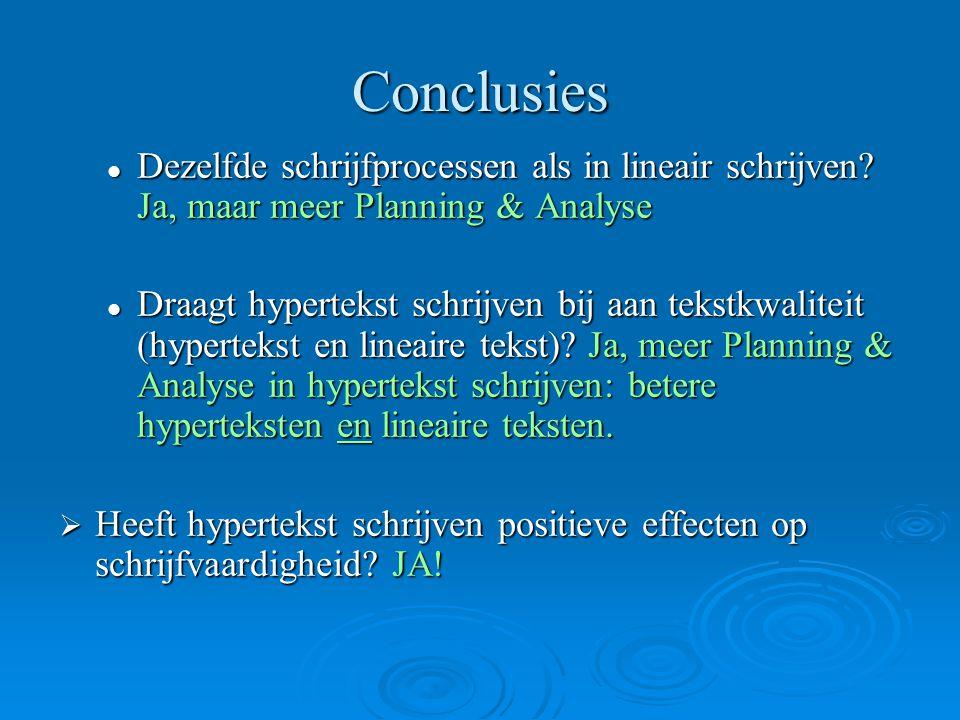 Conclusies Dezelfde schrijfprocessen als in lineair schrijven Ja, maar meer Planning & Analyse.
