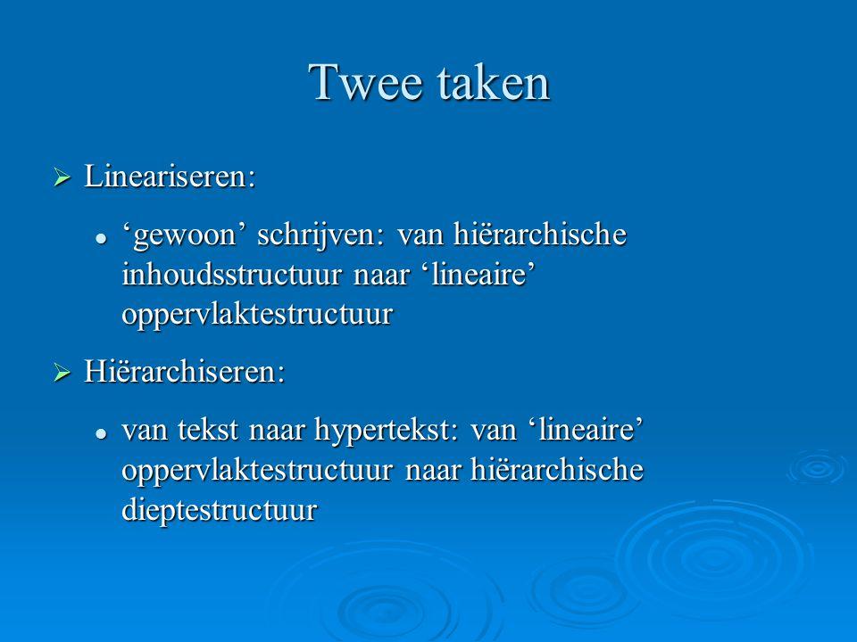 Twee taken Lineariseren: