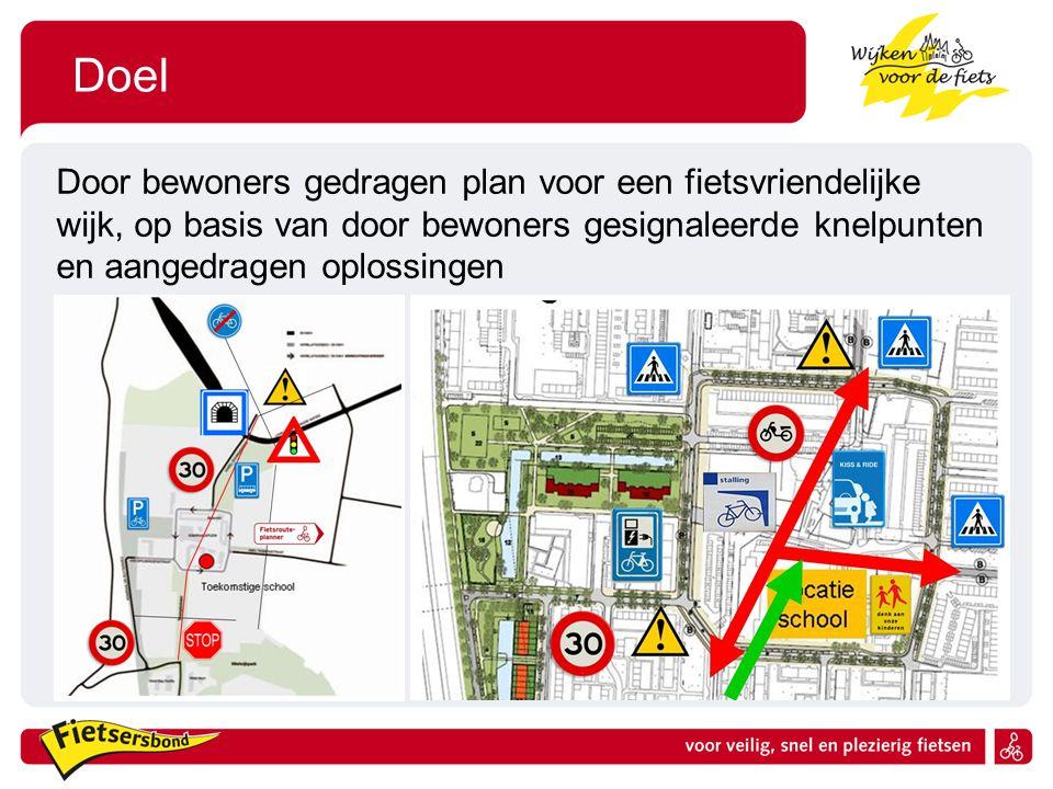 Doel Door bewoners gedragen plan voor een fietsvriendelijke wijk, op basis van door bewoners gesignaleerde knelpunten en aangedragen oplossingen.