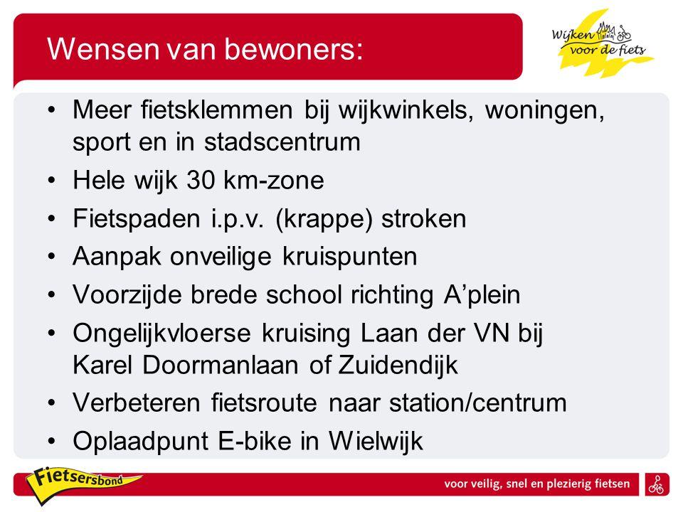 Wensen van bewoners: Meer fietsklemmen bij wijkwinkels, woningen, sport en in stadscentrum. Hele wijk 30 km-zone.
