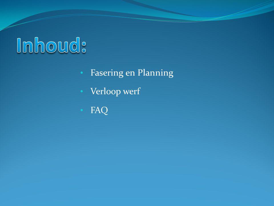 Inhoud: Fasering en Planning Verloop werf FAQ