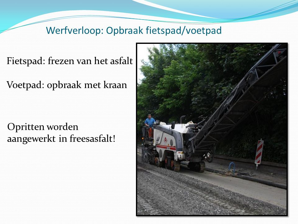 Werfverloop: Opbraak fietspad/voetpad