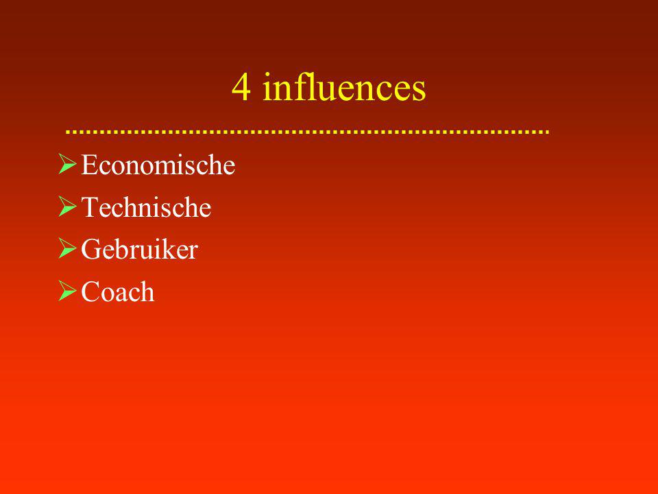 4 influences Economische Technische Gebruiker Coach