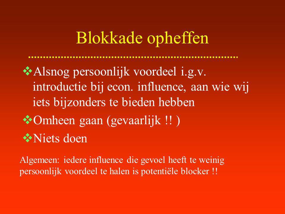 Blokkade opheffen Alsnog persoonlijk voordeel i.g.v. introductie bij econ. influence, aan wie wij iets bijzonders te bieden hebben.