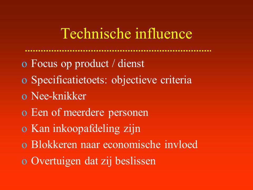 Technische influence Focus op product / dienst