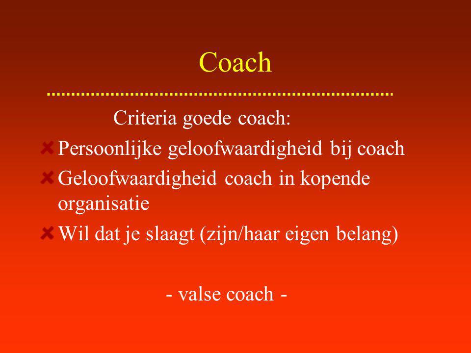 Coach Criteria goede coach: Persoonlijke geloofwaardigheid bij coach