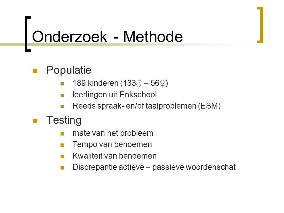 Onderzoek - Methode Populatie Testing 189 kinderen (133♂ – 56♀)