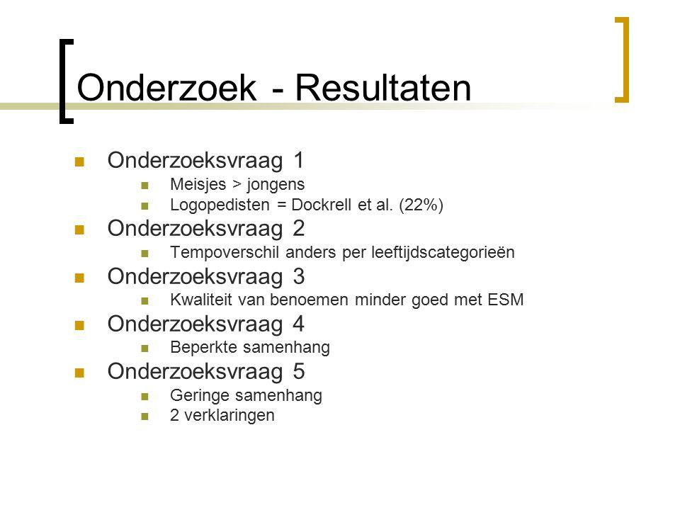 Onderzoek - Resultaten