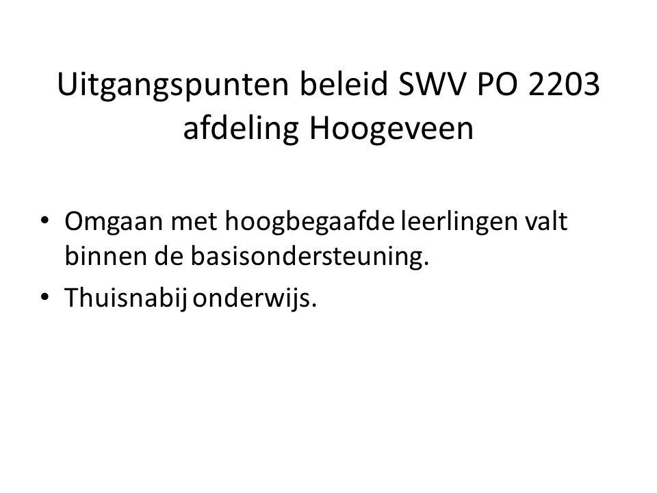 Uitgangspunten beleid SWV PO 2203 afdeling Hoogeveen