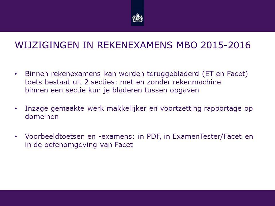 Wijzigingen in rekenexamens mbo 2015-2016