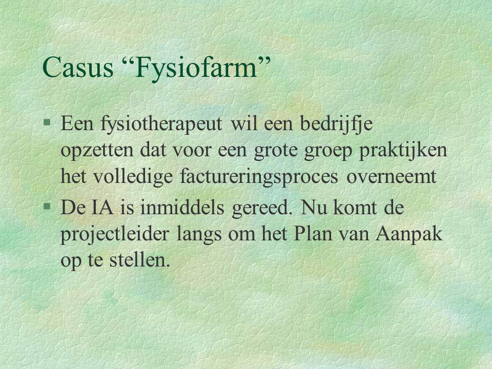 Casus Fysiofarm Een fysiotherapeut wil een bedrijfje opzetten dat voor een grote groep praktijken het volledige factureringsproces overneemt.