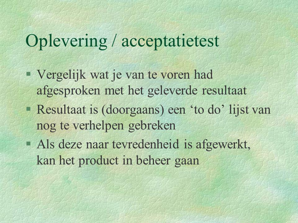 Oplevering / acceptatietest