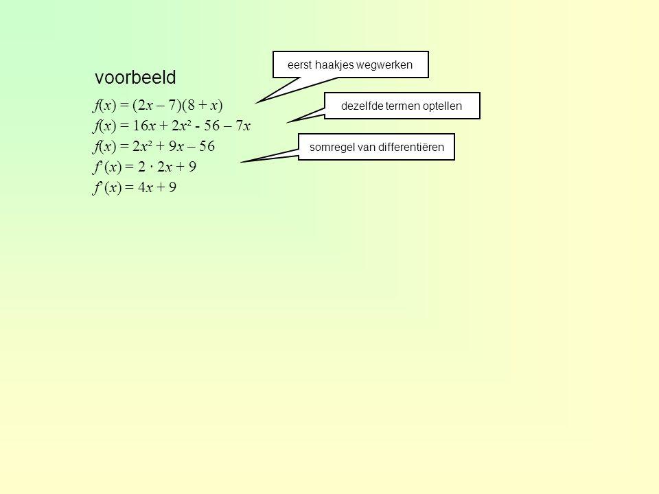 voorbeeld f(x) = (2x – 7)(8 + x) f(x) = 16x + 2x² - 56 – 7x
