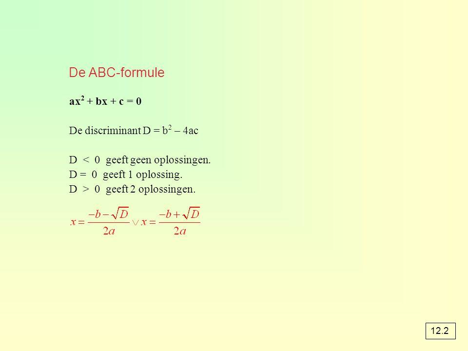 De ABC-formule ax2 + bx + c = 0 De discriminant D = b2 – 4ac