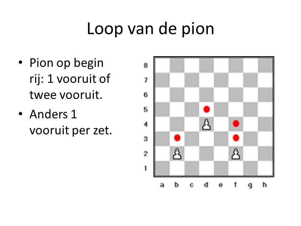 Loop van de pion Pion op begin rij: 1 vooruit of twee vooruit.