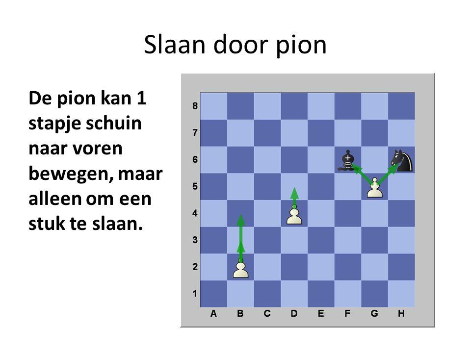 Slaan door pion De pion kan 1 stapje schuin naar voren bewegen, maar alleen om een stuk te slaan.