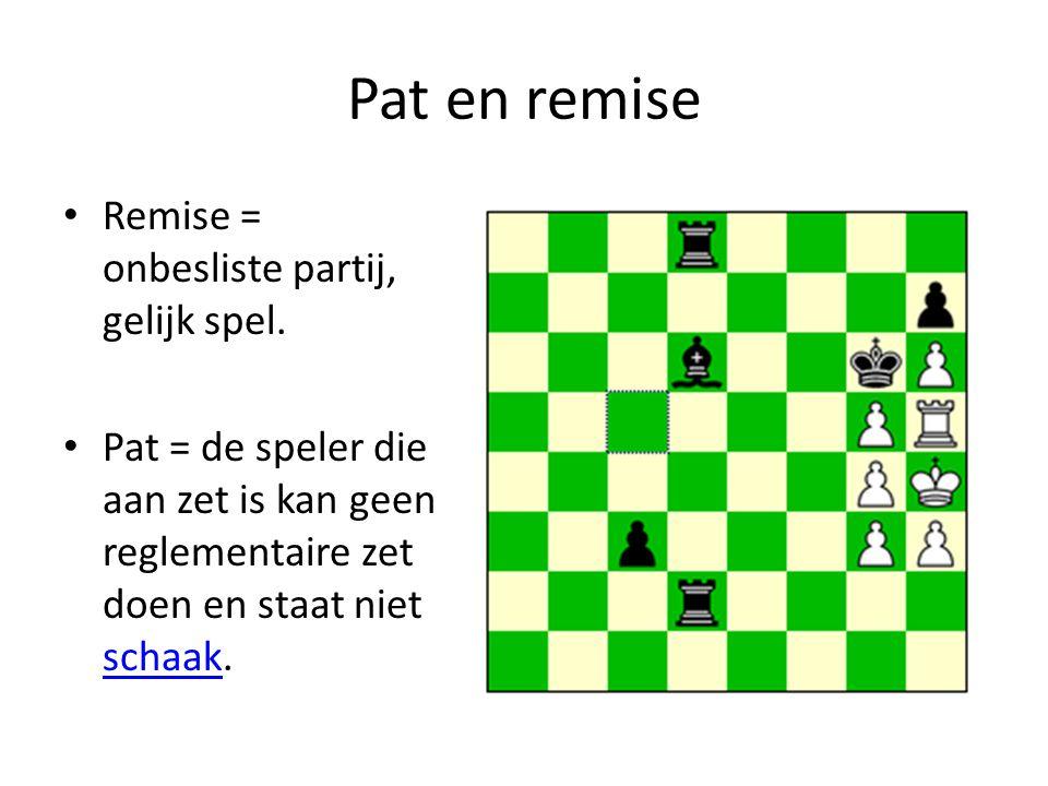 Pat en remise Remise = onbesliste partij, gelijk spel.