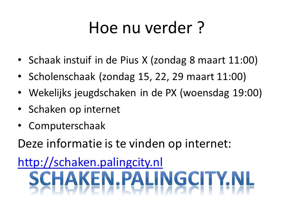 Schaken.palingcity.nl Hoe nu verder