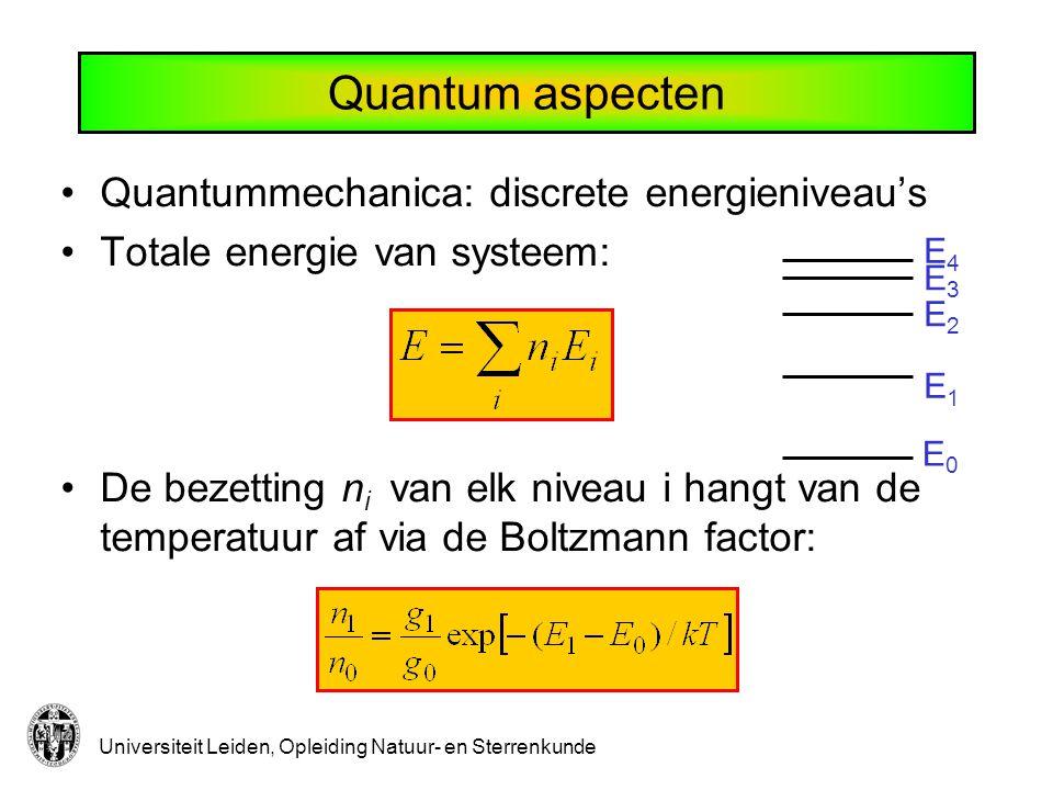 Quantum aspecten Quantummechanica: discrete energieniveau's