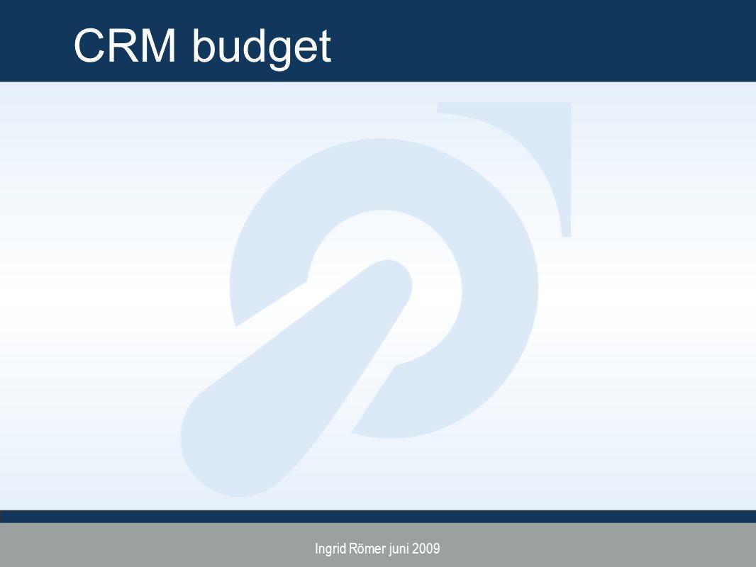 CRM budget Ingrid Römer juni 2009