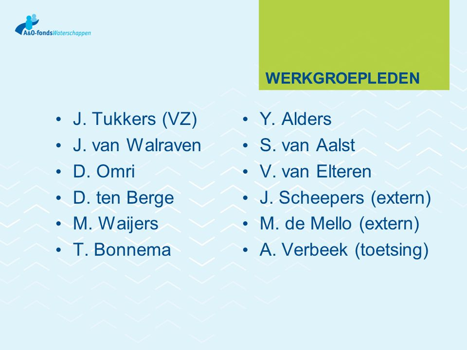 J. Tukkers (VZ) J. van Walraven D. Omri D. ten Berge M. Waijers