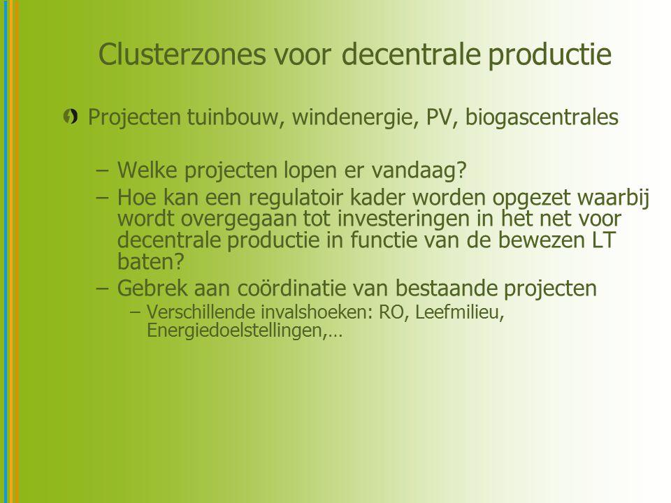 Clusterzones voor decentrale productie