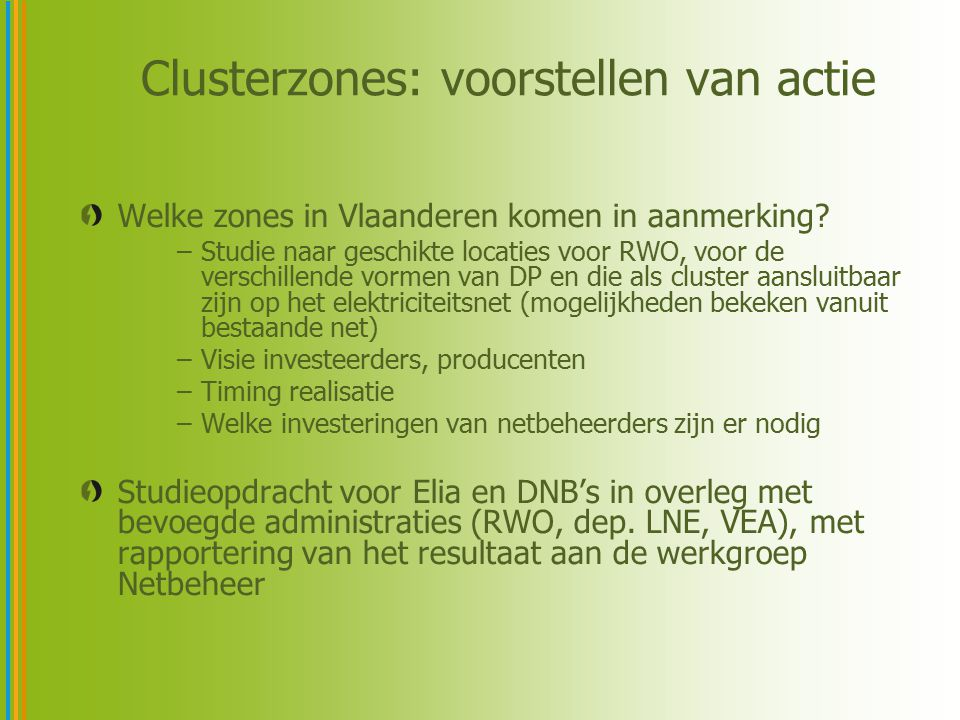 Clusterzones: voorstellen van actie