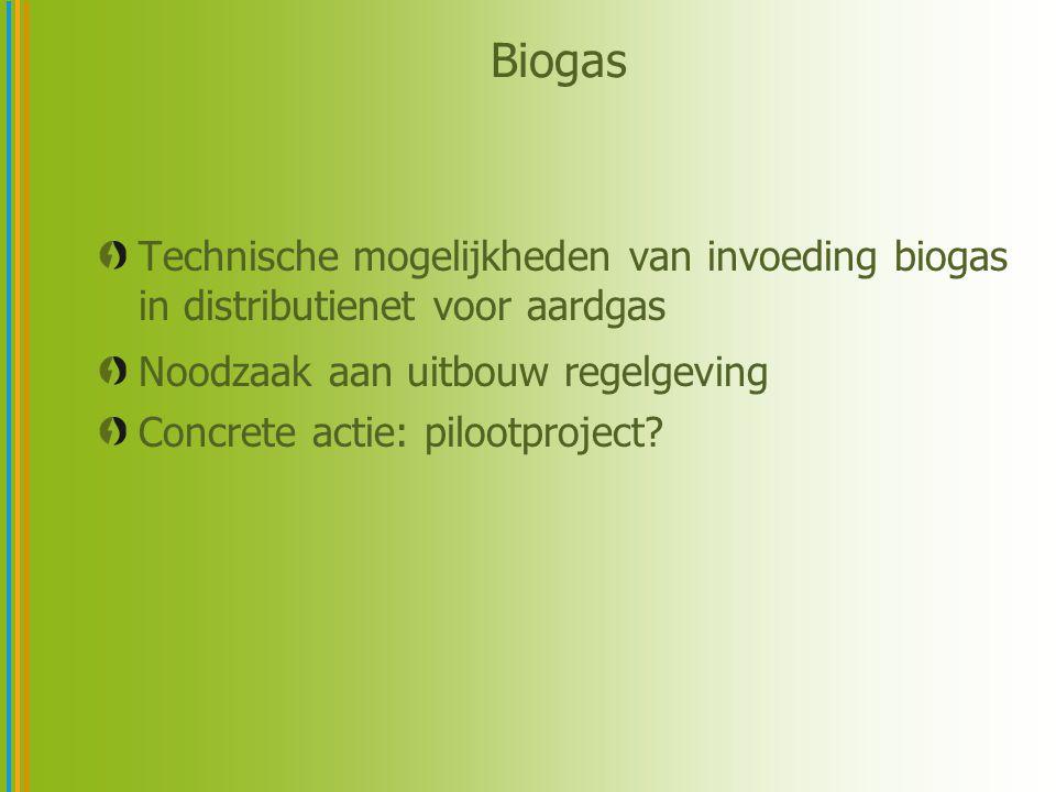 Biogas Technische mogelijkheden van invoeding biogas in distributienet voor aardgas. Noodzaak aan uitbouw regelgeving.