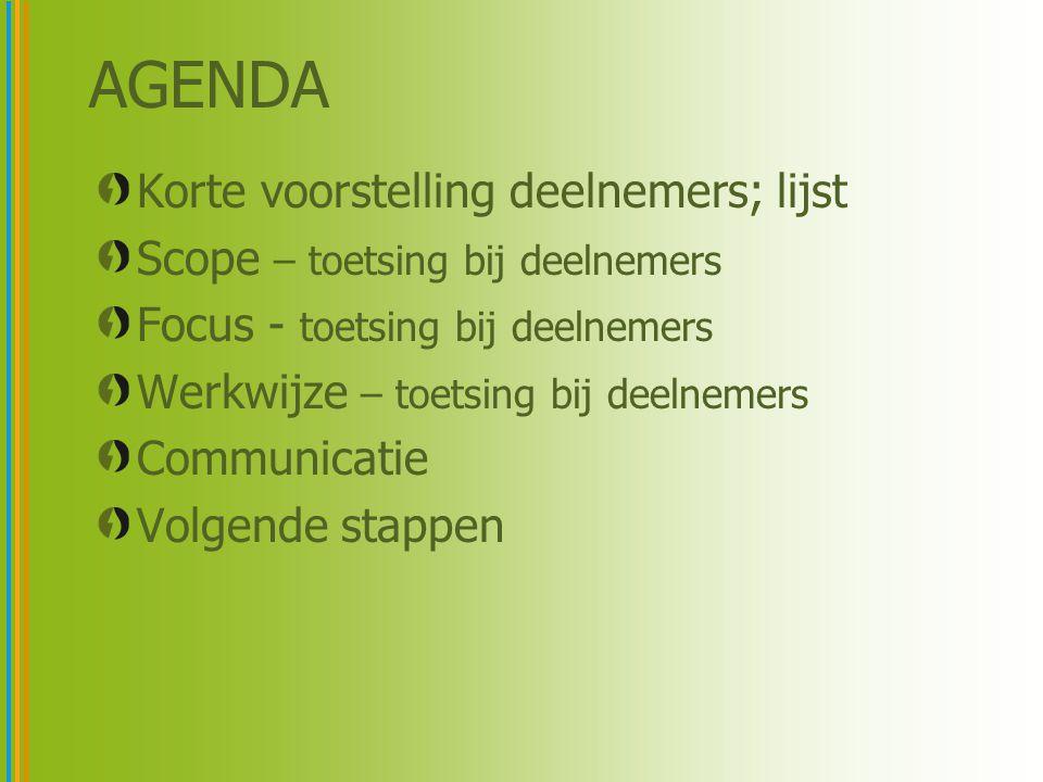 AGENDA Korte voorstelling deelnemers; lijst