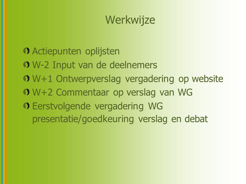 Werkwijze Actiepunten oplijsten W-2 Input van de deelnemers