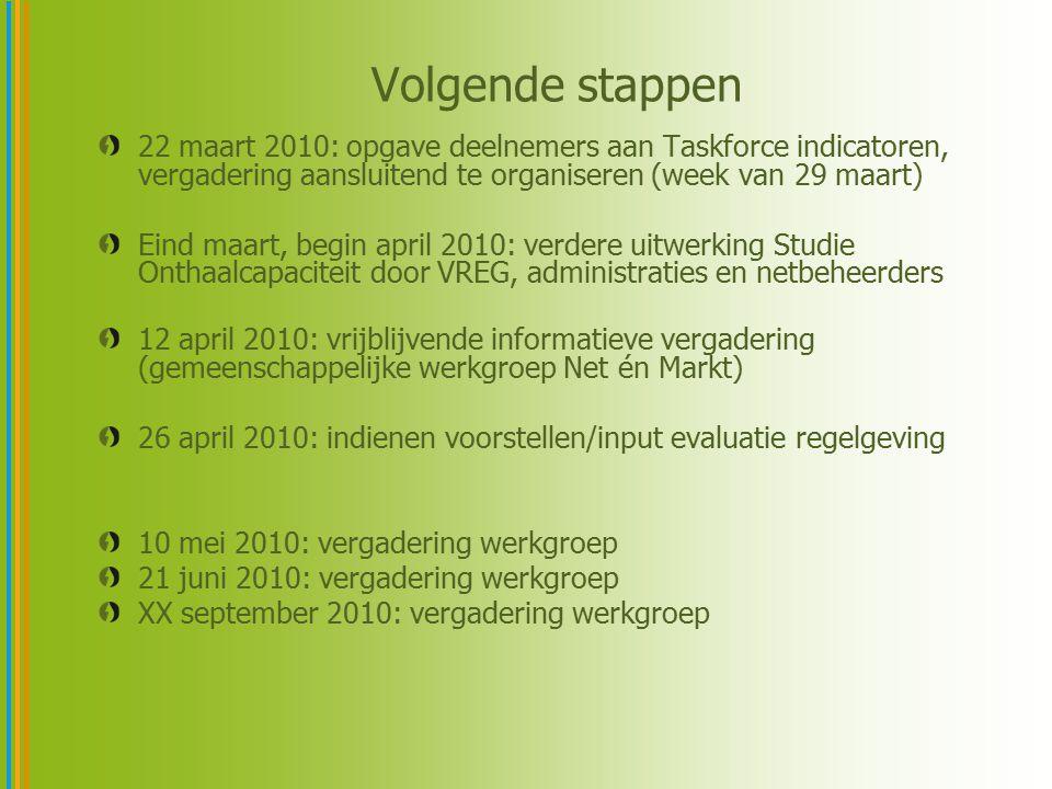 Volgende stappen 22 maart 2010: opgave deelnemers aan Taskforce indicatoren, vergadering aansluitend te organiseren (week van 29 maart)