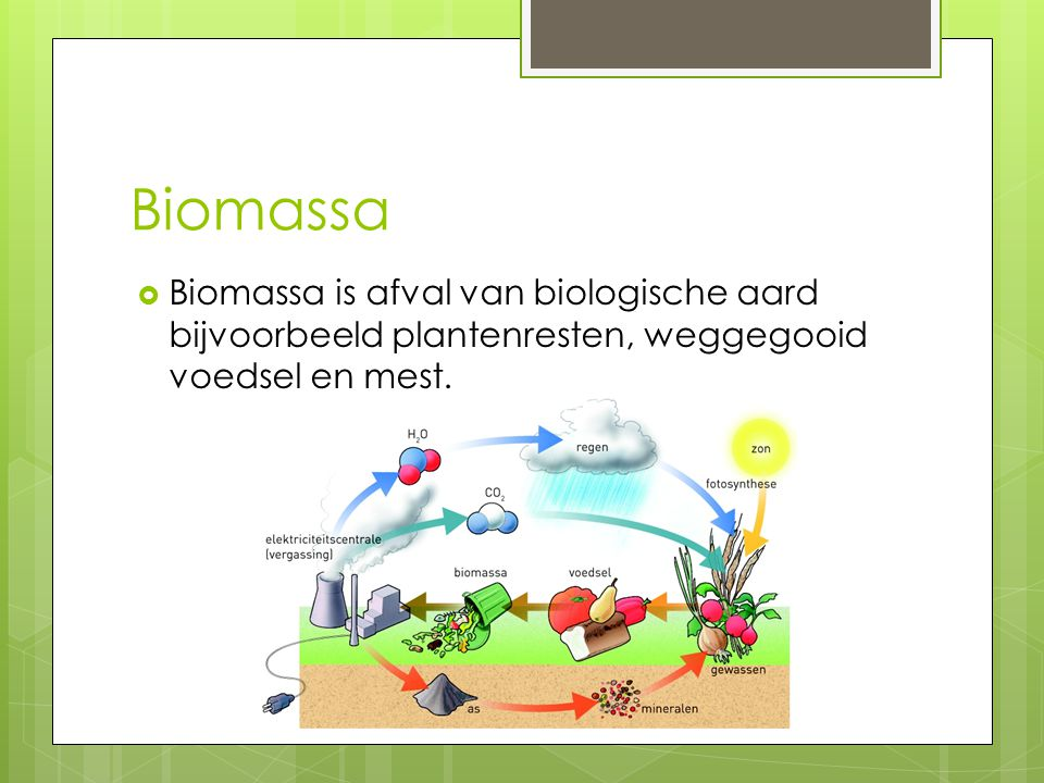 Biomassa Biomassa is afval van biologische aard bijvoorbeeld plantenresten, weggegooid voedsel en mest.