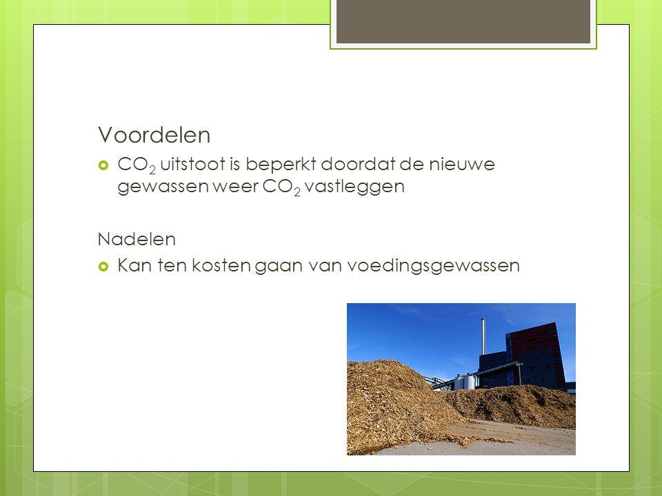 Voordelen CO2 uitstoot is beperkt doordat de nieuwe gewassen weer CO2 vastleggen.