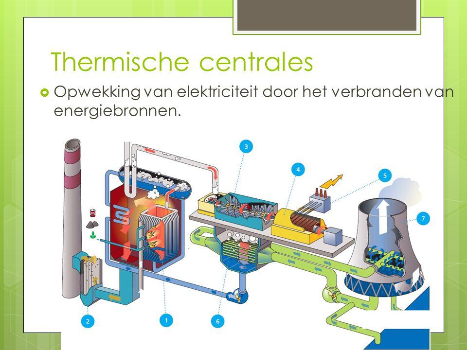 Thermische centrales Opwekking van elektriciteit door het verbranden van energiebronnen.