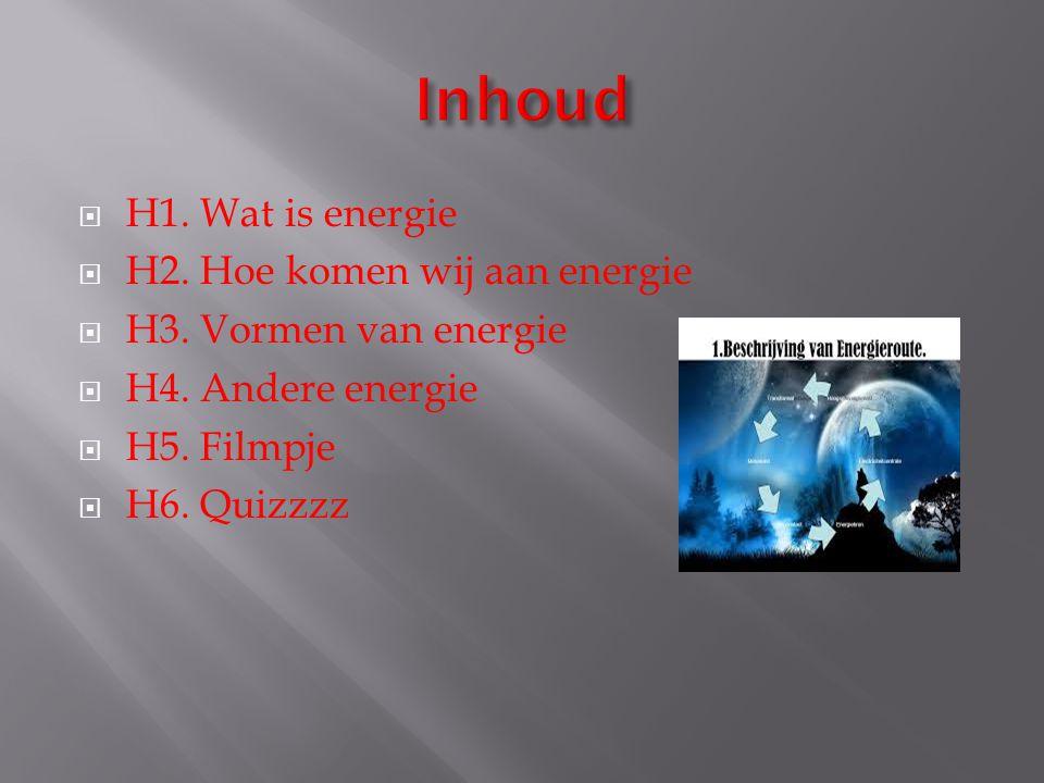 Inhoud H1. Wat is energie H2. Hoe komen wij aan energie