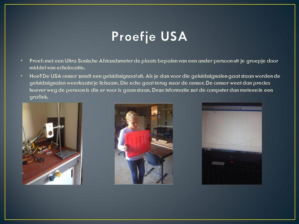 Proefje USA Proef: met een Ultra Sonische Afstandsmeter de plaats bepalen van een ander persoon uit je groepje door middel van echolocatie.