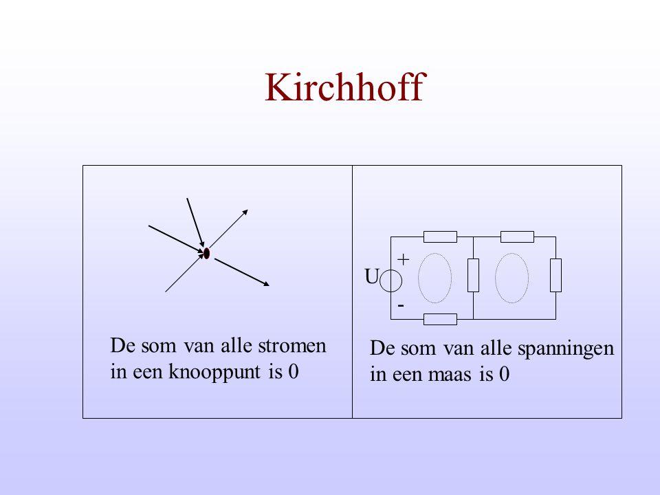 Kirchhoff + U - De som van alle stromen De som van alle spanningen