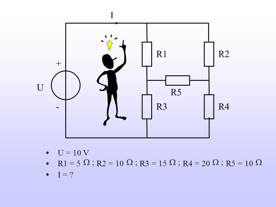 R2 R1 R3 R4 R5 U + - I U = 10 V R1 = 5 W ; R2 = 10 R3 = 15 R4 = 20