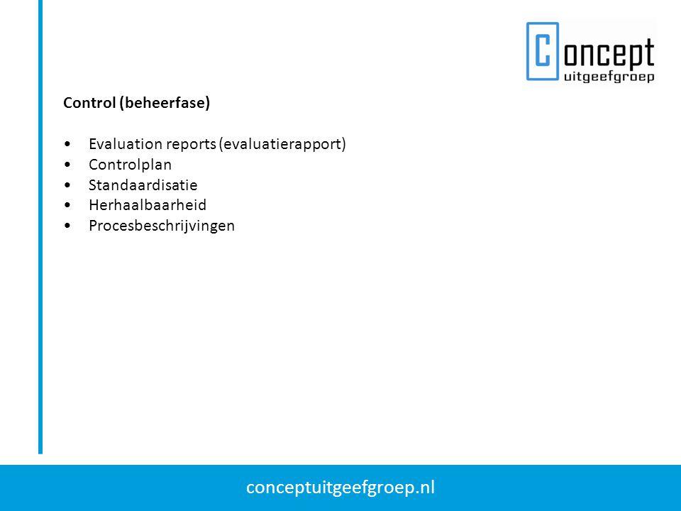 Control (beheerfase) Evaluation reports (evaluatierapport) Controlplan. Standaardisatie. Herhaalbaarheid.