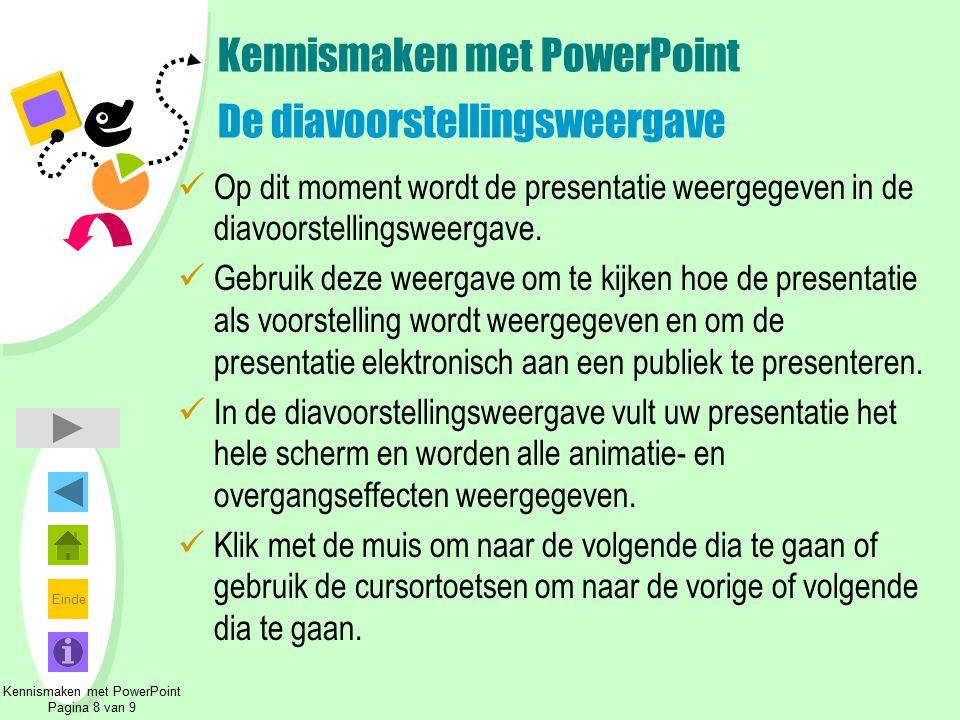 Kennismaken met PowerPoint De diavoorstellingsweergave