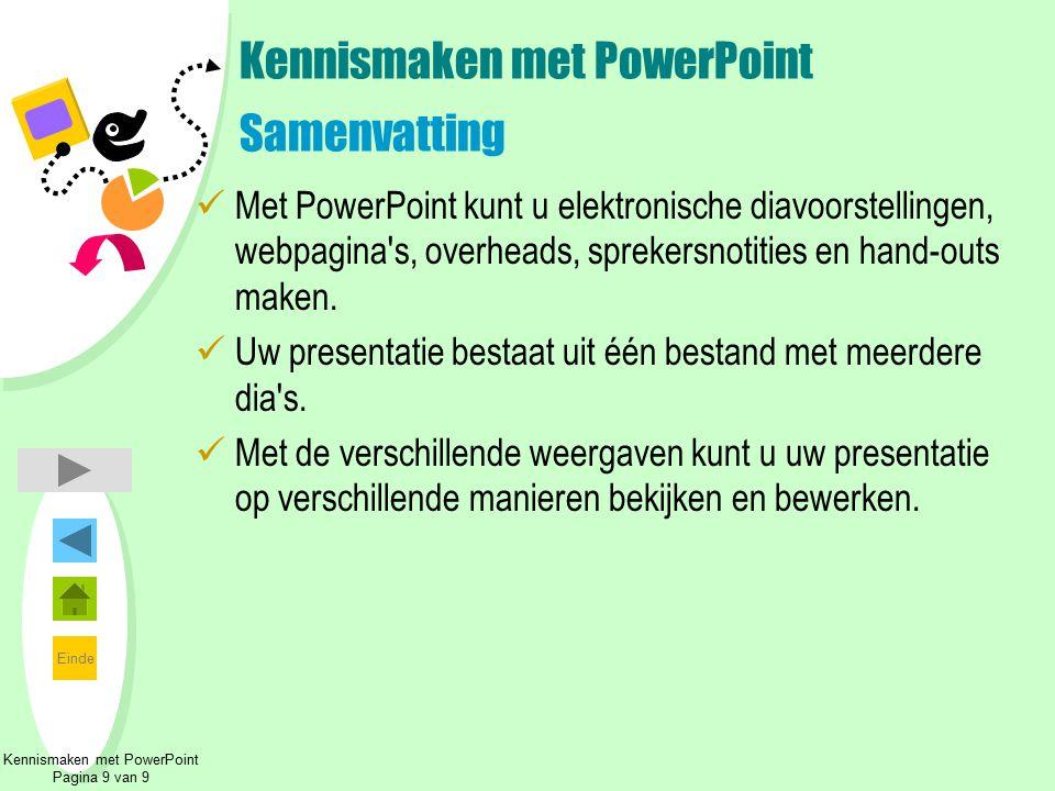 Kennismaken met PowerPoint Samenvatting
