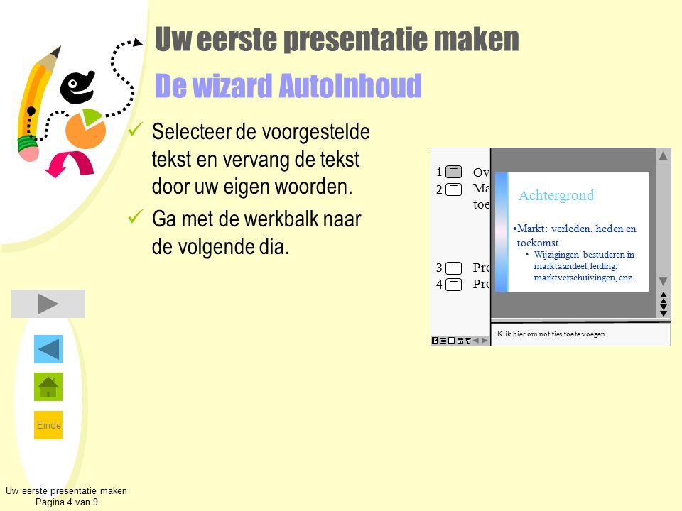 Uw eerste presentatie maken De wizard AutoInhoud