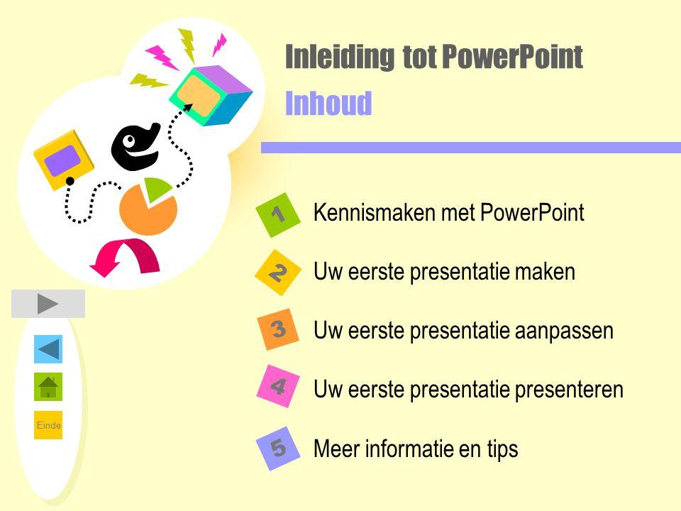 Inleiding tot PowerPoint Inhoud