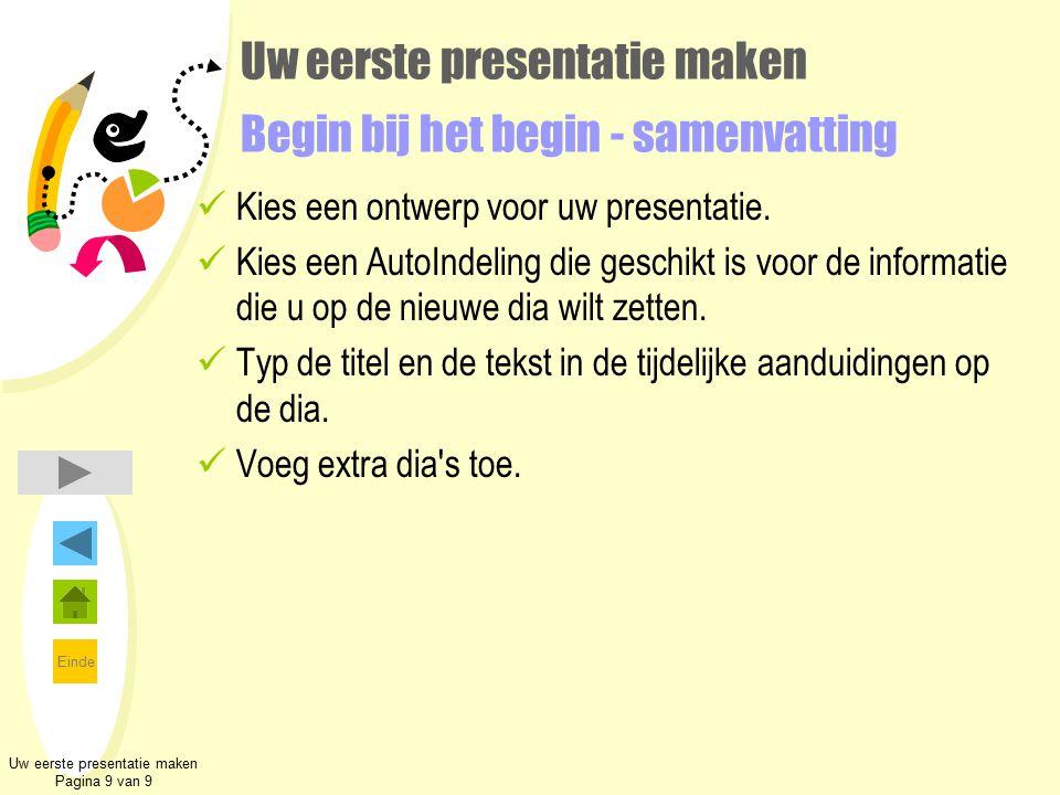 Uw eerste presentatie maken Begin bij het begin - samenvatting