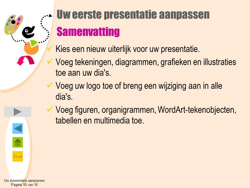 Uw eerste presentatie aanpassen Samenvatting