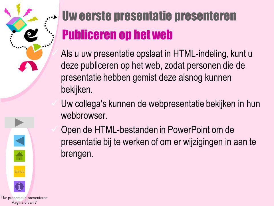 Uw eerste presentatie presenteren Publiceren op het web