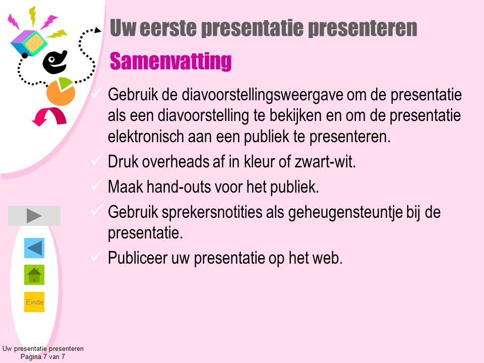 Uw eerste presentatie presenteren Samenvatting
