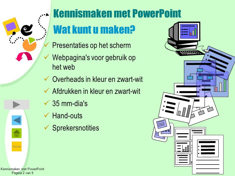 Kennismaken met PowerPoint Wat kunt u maken