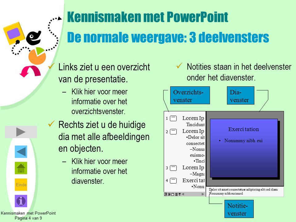 Kennismaken met PowerPoint De normale weergave: 3 deelvensters