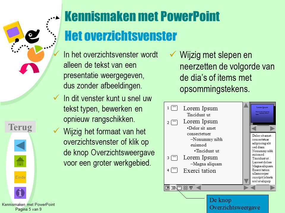 Kennismaken met PowerPoint Het overzichtsvenster